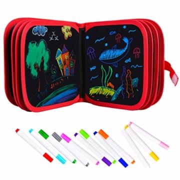 Upgrow Innovative Tafel, Malbuch für Kinder Wiederverwendbares Malbuch Graffiti-Zeichenbrett für Kinder Doodle pad Innovatives Mal- und Zeichenbrett Tafel mit 12 Stiften zum Schreiben und Zeichnen - 1