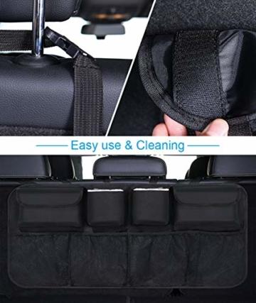 URAQT Kofferraum Organizer Auto, Auto Aufbewahrungstasche, Kofferraumtasche Auto, Wasserdichten Taschen Auto mit Starkes elastisches, Zauberstabstruktur für SUV, Schwarz (1-S) - 2