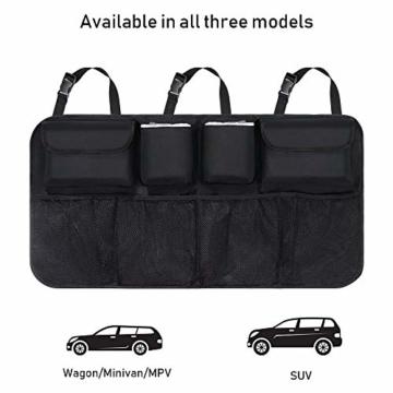 URAQT Kofferraum Organizer Auto, Auto Aufbewahrungstasche, Kofferraumtasche Auto, Wasserdichten Taschen Auto mit Starkes elastisches, Zauberstabstruktur für SUV, Schwarz (1-S) - 4