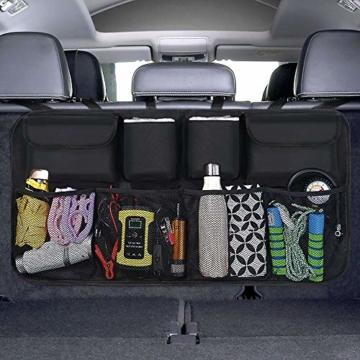 URAQT Kofferraum Organizer Auto, Auto Aufbewahrungstasche, Kofferraumtasche Auto, Wasserdichten Taschen Auto mit Starkes elastisches, Zauberstabstruktur für SUV, Schwarz (1-S) - 1
