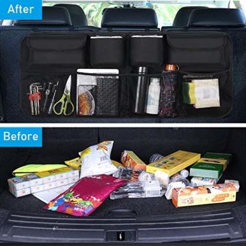 URAQT Kofferraum Organizer Auto, Auto Aufbewahrungstasche, Kofferraumtasche Auto, Wasserdichten Taschen Auto mit Starkes elastisches, Zauberstabstruktur für SUV, Schwarz (1-S) - 5