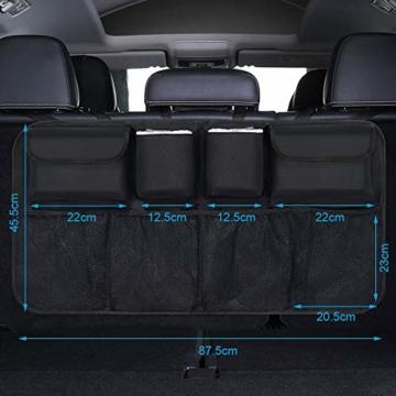 URAQT Kofferraum Organizer Auto, Auto Aufbewahrungstasche, Kofferraumtasche Auto, Wasserdichten Taschen Auto mit Starkes elastisches, Zauberstabstruktur für SUV, Schwarz (1-S) - 6