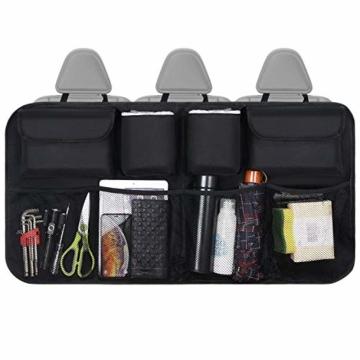URAQT Kofferraum Organizer Auto, Auto Aufbewahrungstasche, Kofferraumtasche Auto, Wasserdichten Taschen Auto mit Starkes elastisches, Zauberstabstruktur für SUV, Schwarz (1-S) - 7