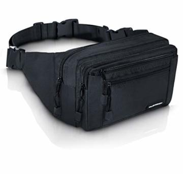 VAN BEEKEN Bauchtasche Gürteltasche für Damen und Herren mit Gurtverlängerung I Wasserabweisende und reißfeste Hüfttasche I Hip Bag, Schwarz - 1