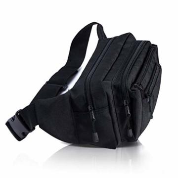 VAN BEEKEN Bauchtasche Gürteltasche für Damen und Herren mit Gurtverlängerung I Wasserabweisende und reißfeste Hüfttasche I Hip Bag, Schwarz - 5