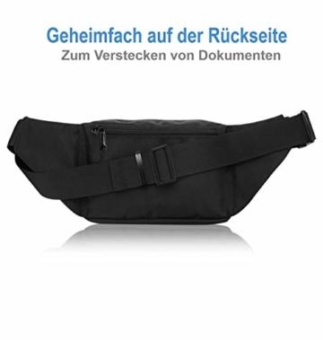 VAN BEEKEN Bauchtasche Gürteltasche für Damen und Herren mit Gurtverlängerung I Wasserabweisende und reißfeste Hüfttasche I Hip Bag, Schwarz - 7