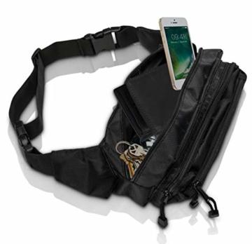 VAN BEEKEN Bauchtasche Gürteltasche für Damen und Herren mit Gurtverlängerung I Wasserabweisende und reißfeste Hüfttasche I Hip Bag, Schwarz - 8