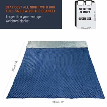VAN BEEKEN Gewichtsdecke Therapiedecke mit Bezug für Erwachsende und Kinder I Weighted Blanket als Einschlafhilfe und gegen Unruhe I gewichtete schwere Decke zum Besser Schlafen, 150x200 cm 11.3 kg - 4