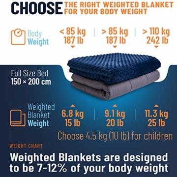 VAN BEEKEN Gewichtsdecke Therapiedecke mit Bezug für Erwachsende und Kinder I Weighted Blanket als Einschlafhilfe und gegen Unruhe I gewichtete schwere Decke zum Besser Schlafen, 150x200 cm 11.3 kg - 7