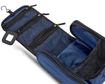 VAN BEEKEN Großer Kulturbeutel Kulturtasche zum Aufhängen für Männer Frauen I Reise Kosmetiktasche groß I Waschtasche mit Flüssigkeitsbehälter Schlafbrille I Waschbeutel Damen Herren Blau - 2