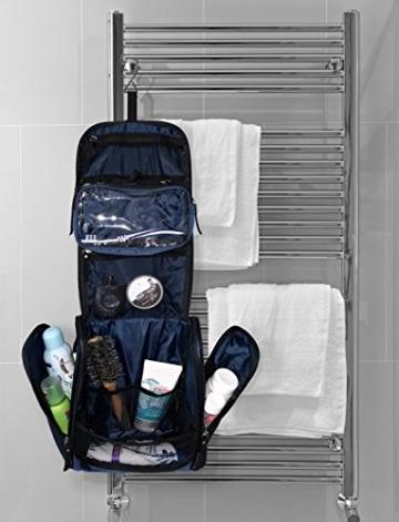VAN BEEKEN Großer Kulturbeutel Kulturtasche zum Aufhängen für Männer Frauen I Reise Kosmetiktasche groß I Waschtasche mit Flüssigkeitsbehälter Schlafbrille I Waschbeutel Damen Herren Blau - 3
