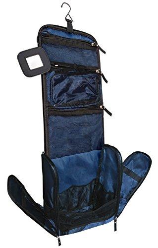 VAN BEEKEN Großer Kulturbeutel Kulturtasche zum Aufhängen für Männer Frauen I Reise Kosmetiktasche groß I Waschtasche mit Flüssigkeitsbehälter Schlafbrille I Waschbeutel Damen Herren Blau - 1