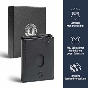 VAN BEEKEN Mini Kartenetui für 12-14 Karten - Leder Geldbeutel Geldbörse für Damen und Herren - Slim Wallet Kreditkartenetui mit RFID Schutz - 2
