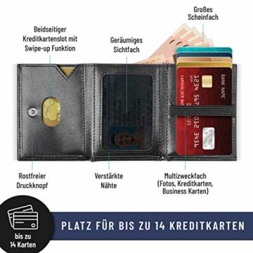 VAN BEEKEN Mini Kartenetui für 12-14 Karten - Leder Geldbeutel Geldbörse für Damen und Herren - Slim Wallet Kreditkartenetui mit RFID Schutz - 3