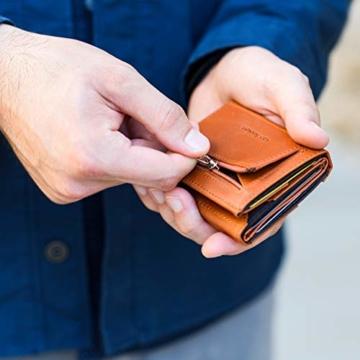 VAN BEEKEN Mini Kartenetui für 12-14 Karten - Leder Geldbeutel Geldbörse für Damen und Herren - Slim Wallet Kreditkartenetui mit RFID Schutz - 5
