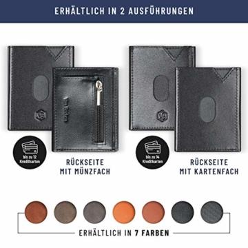 VAN BEEKEN Mini Kartenetui für 12-14 Karten - Leder Geldbeutel Geldbörse für Damen und Herren - Slim Wallet Kreditkartenetui mit RFID Schutz - 6