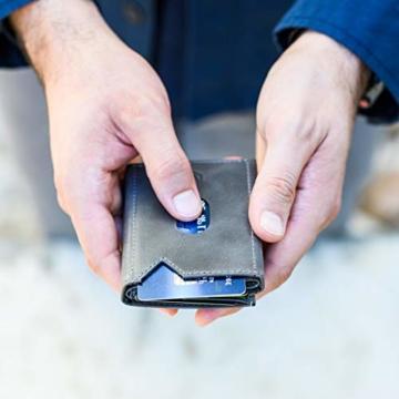 VAN BEEKEN Mini Kartenetui für 12-14 Karten - Leder Geldbeutel Geldbörse für Damen und Herren - Slim Wallet Kreditkartenetui mit RFID Schutz - 7