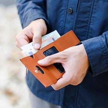 VAN BEEKEN Mini Kartenetui für 12-14 Karten - Leder Geldbeutel Geldbörse für Damen und Herren - Slim Wallet Kreditkartenetui mit RFID Schutz - 8