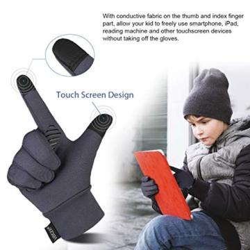 Vbiger Kinder Handschuhe Winterhandschuhe Radhandschuhe Leichte Anti-Rutsch Laufen für Jungen und Mädchen, Grau, Medium (6-8 Jahre) - 2