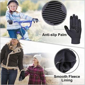 Vbiger Kinder Handschuhe Winterhandschuhe Radhandschuhe Leichte Anti-Rutsch Laufen für Jungen und Mädchen, Grau, Medium (6-8 Jahre) - 4