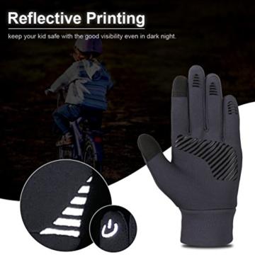 Vbiger Kinder Handschuhe Winterhandschuhe Radhandschuhe Leichte Anti-Rutsch Laufen für Jungen und Mädchen, Grau, Medium (6-8 Jahre) - 5