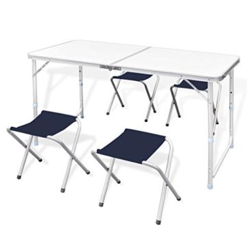 vidaXL Campingtisch Set mit 4 Hockern Klappmöbel Stühle Tisch Falthocker 120x60 - 1