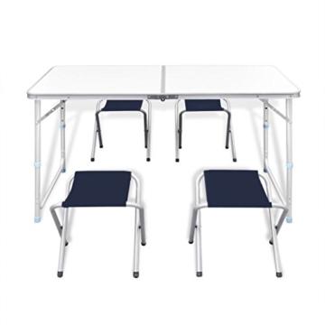 vidaXL Campingtisch Set mit 4 Hockern Klappmöbel Stühle Tisch Falthocker 120x60 - 2