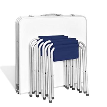 vidaXL Campingtisch Set mit 4 Hockern Klappmöbel Stühle Tisch Falthocker 120x60 - 6