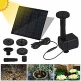 Vivibel Solar Springbrunne Teichpumpe Brunnen Solarpumpe Fontäne für Gartenteiche Fisch-Behälter Garten Solarbrunnenpumpe Wasserspiel eingebaute Solar Panel Batterie, Wasserkreislauf-1 - 1