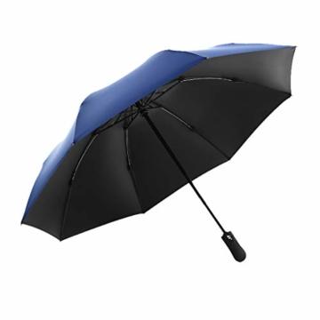 Vollautomatisches Faltbar Sonnenschirm Rain Regenschirm Öffnen Golf Schirme Überdachung Belüftet Winddicht wasserdichte Doppeltem Verwendungszweck UV-Faltschirm (Hellblau) - 3