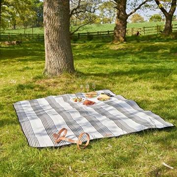 VonShef Extragroße Fleece Picknickdecke mit Kunstledergriff und wasserfester Auskleidung - 4