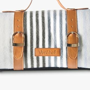 VonShef Extragroße Fleece Picknickdecke mit Kunstledergriff und wasserfester Auskleidung - 5
