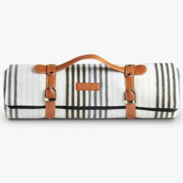 VonShef Extragroße Fleece Picknickdecke mit Kunstledergriff und wasserfester Auskleidung - 6