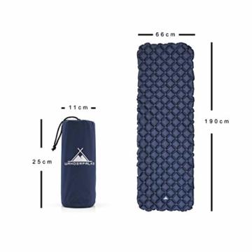 WANDERFALKE Camping Isomatte (XL-Breite) 190 x 66 x 6 cm - Luftmatratze Camping - ultraleichte Isomatte für Outdoor, Camping, Wandern, Reise (Nachtblau) - 5