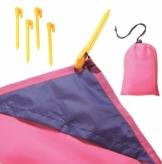 Wasserdichte Picknickdecke, Stranddecke mit Tasche und Haken, 200 cm x 140 cm (pink) - 1