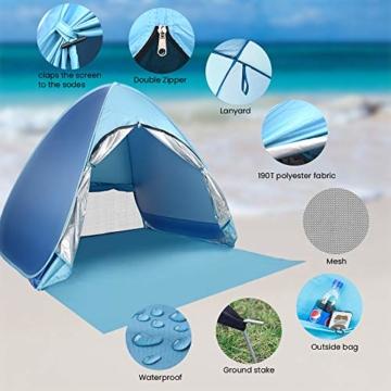 Wayrank Strandmuschel mit Reißverschluss-Türvorhang, Pop Up Strandzelt Wasserdich für Camping Picknick Strand Garten Outdoor - 4