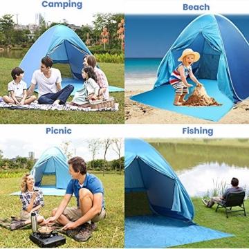Wayrank Strandmuschel mit Reißverschluss-Türvorhang, Pop Up Strandzelt Wasserdich für Camping Picknick Strand Garten Outdoor - 5
