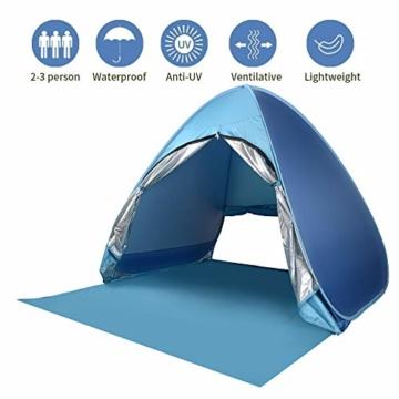 Wayrank Strandmuschel mit Reißverschluss-Türvorhang, Pop Up Strandzelt Wasserdich für Camping Picknick Strand Garten Outdoor - 1