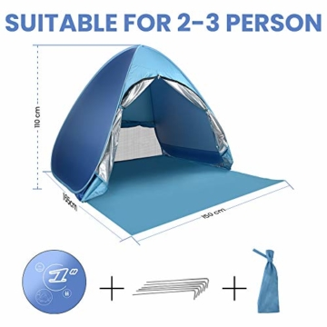 Wayrank Strandmuschel mit Reißverschluss-Türvorhang, Pop Up Strandzelt Wasserdich für Camping Picknick Strand Garten Outdoor - 2
