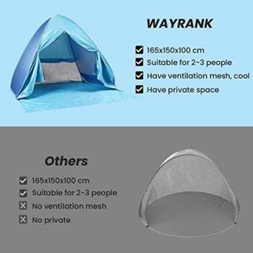 Wayrank Strandmuschel mit Reißverschluss-Türvorhang, Pop Up Strandzelt Wasserdich für Camping Picknick Strand Garten Outdoor - 3