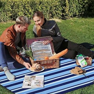 Wrei Picknickdecke, 200 x 200 cm XXL campingdecke mit wasserdichter Unterseite, Outdoor Stranddecke wasserdichte sanddichte tolle Picknick-Matte für Picknicks, Essen im Freien, Camping, Strand - 5