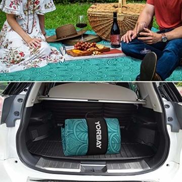 Yorbay Picknickdecke 200 x 200 cm XXL Fleece wasserdicht Decke mit Tragegriff Mehrweg (Blaue Feder) - 2