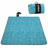 Yorbay Picknickdecke 200 x 200 cm XXL Fleece wasserdicht Decke mit Tragegriff Mehrweg (Blaue Feder) - 1