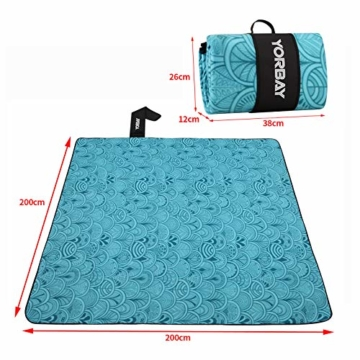 Yorbay Picknickdecke 200 x 200 cm XXL Fleece wasserdicht Decke mit Tragegriff Mehrweg (Blaue Feder) - 3