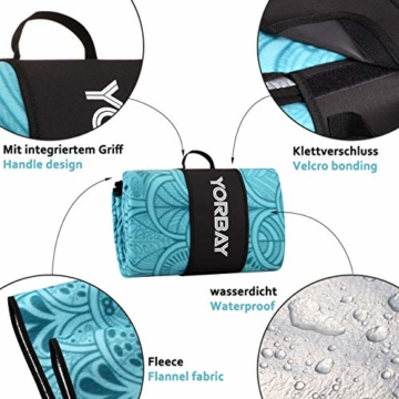 Yorbay Picknickdecke 200 x 200 cm XXL Fleece wasserdicht Decke mit Tragegriff Mehrweg (Blaue Feder) - 4