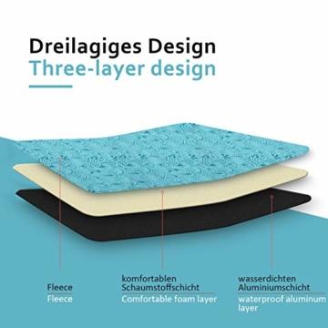 Yorbay Picknickdecke 200 x 200 cm XXL Fleece wasserdicht Decke mit Tragegriff Mehrweg (Blaue Feder) - 5