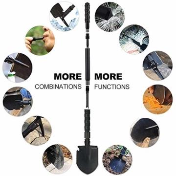 YOUNGDO Klappschaufel 14 Funktionen, Multifunktional-Schaufel von 3 Längen-Kombinationen, rostfrei Spaten aus Premiumer legierter Stahl, Abnehmbar Schaufel für Überleben/Garten/Camping - 6