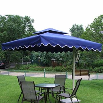 YRRA Porto Parasol,Regenschirm für Sonne Crank Mechanism Marktschirm Gartenschirm Terrassenschirm Doppelsonnenschirm Terrassenschirm,Blau - 1