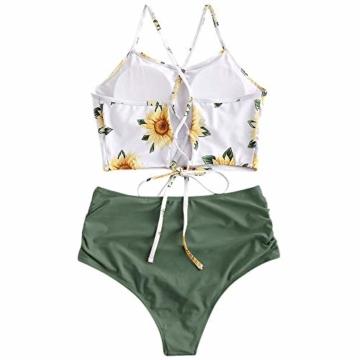 ZAFUL Damen Gepolstert Hohe Taille Lace-up Tankini Set Tarnung-Grün S - 2