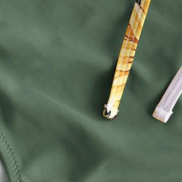 ZAFUL Damen Gepolstert Hohe Taille Lace-up Tankini Set Tarnung-Grün S - 3